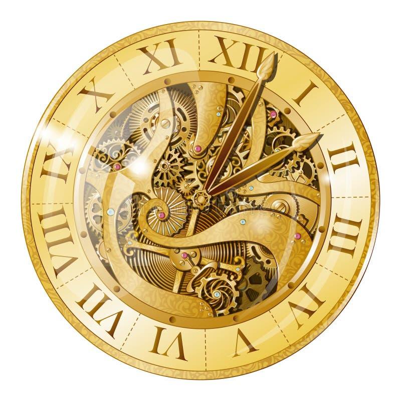 Weinlese-goldene Uhr-Illustration vektor abbildung