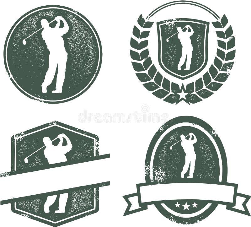 Weinlese-Golf-Embleme vektor abbildung