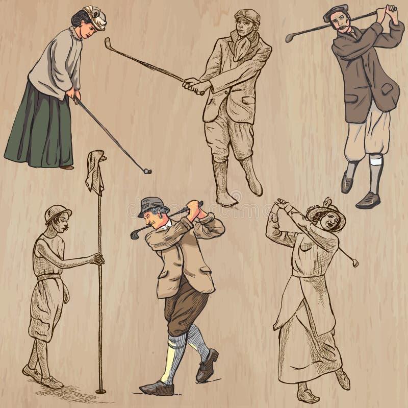Weinlese-Golf und Golfspieler - übergeben Sie gezogene Vektoren, freehands stock abbildung