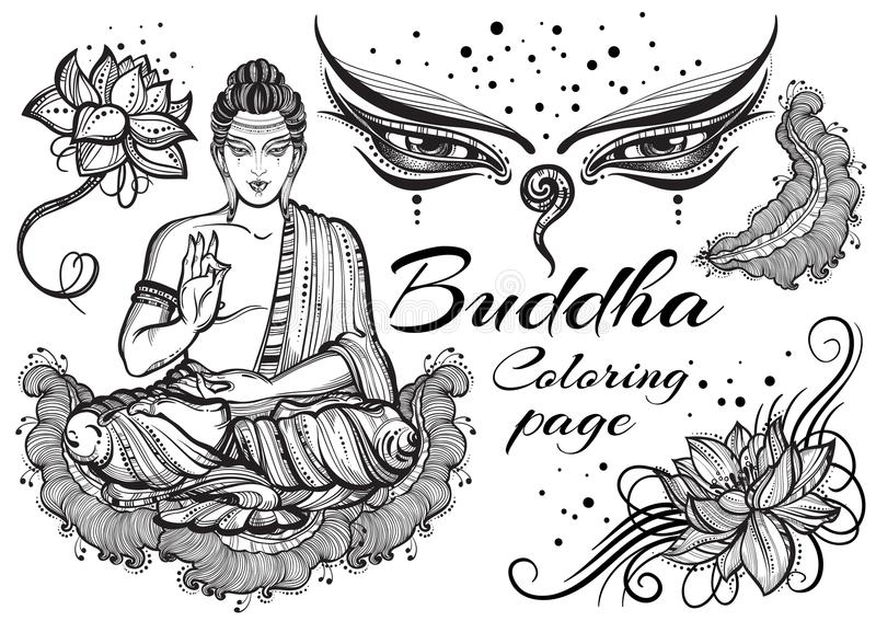 Weinlese grafischer Buddha stellte mit buddhistischen heiligen Elementen ein Religiöses Konzept Vektorkunst der hohen Qualität lo vektor abbildung