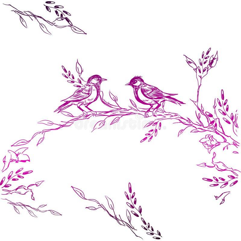 Weinlese-Gruß-Karte mit blühenden Blumen und Vögeln Danke mit Platz für Ihren Text Wildflowers, Vektor lizenzfreie abbildung