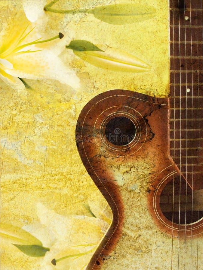 Weinlese grunge Hintergrund mit Gitarre stock abbildung