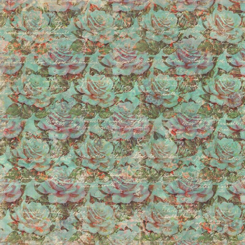 Weinlese Grungy Rose Wallpaper Pattern mit Text lizenzfreie stockfotos