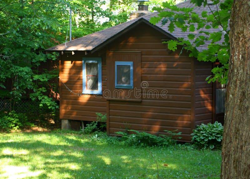 Weinlese-Häuschen-im Wald Brown-Blau-Ordnung lizenzfreie stockfotos