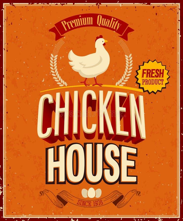 Weinlese-Hühnerhaus-Plakat. stock abbildung