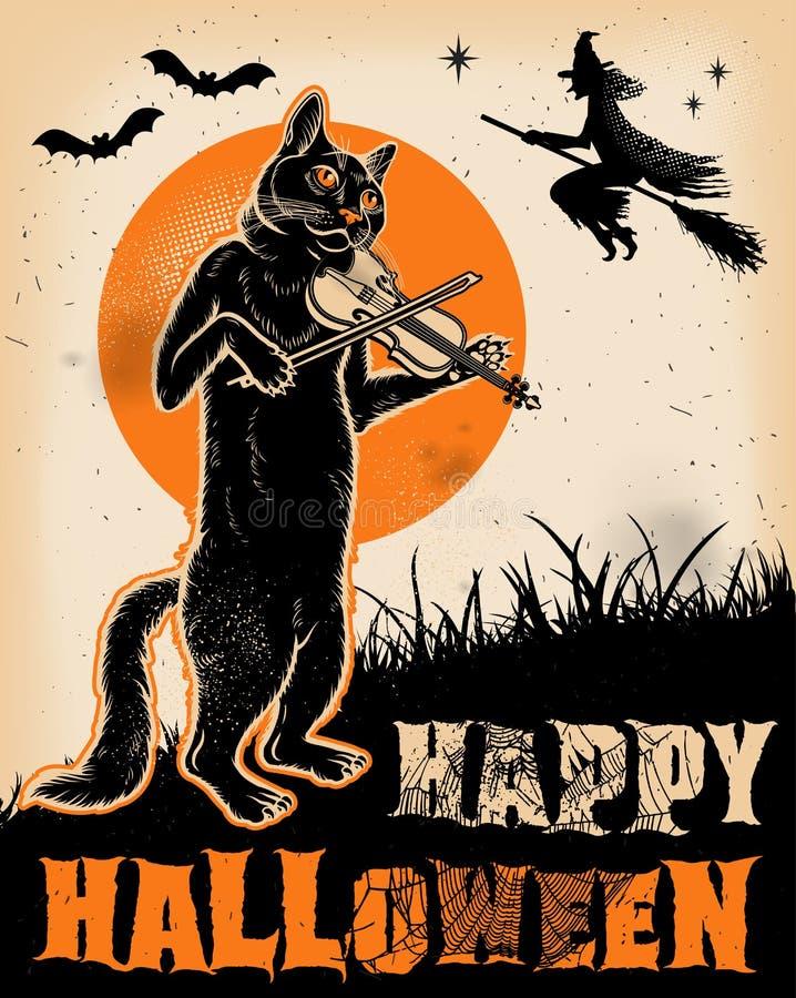 Weinlese Halloween Cat Playing Violin Poster lizenzfreie abbildung