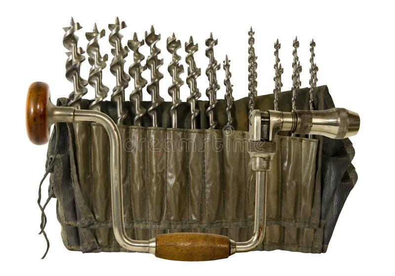 Weinlese Hand-befestigen mit Set der Schneckenwelle lizenzfreies stockbild