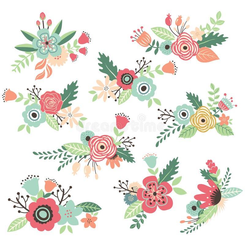 Weinlese-Hand gezeichnete Blumen eingestellt stock abbildung
