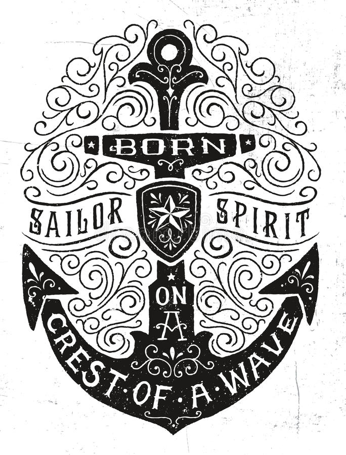 Weinlese Hand gezeichnete Flourish-Anker-Illustration stock abbildung