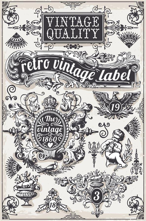 Weinlese-Hand gezeichnete grafische Fahnen und Aufkleber stock abbildung