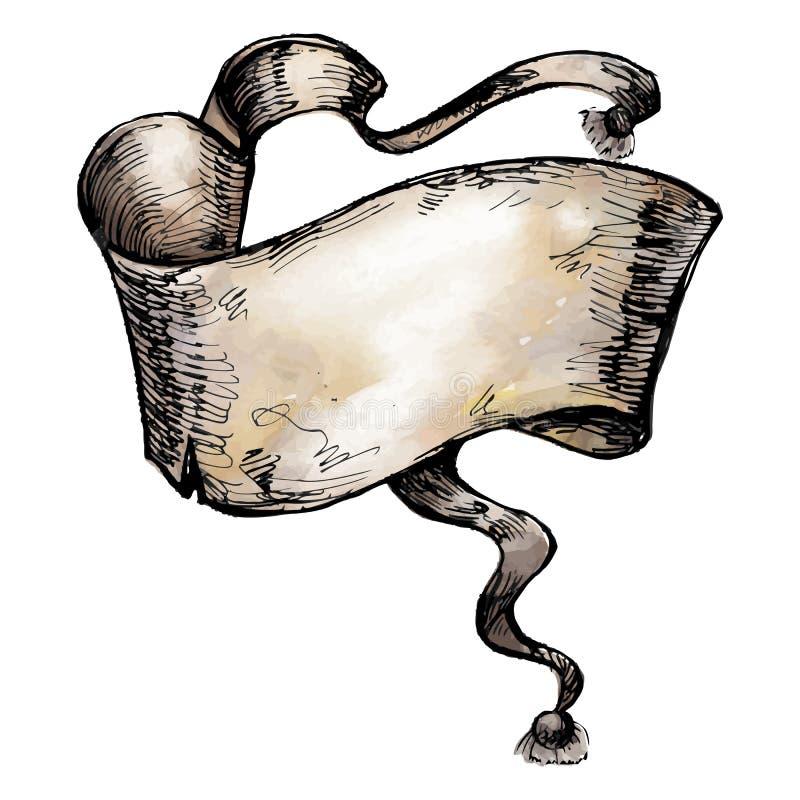 Weinlese-Handgezogenes Aquarell und Tinte Band, Pergament stock abbildung