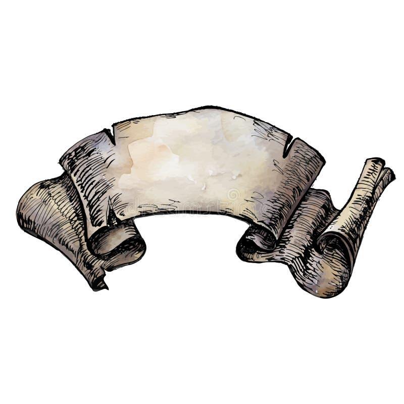 Weinlese-Handgezogenes Aquarell und Tinte Band, Pergament lizenzfreie abbildung