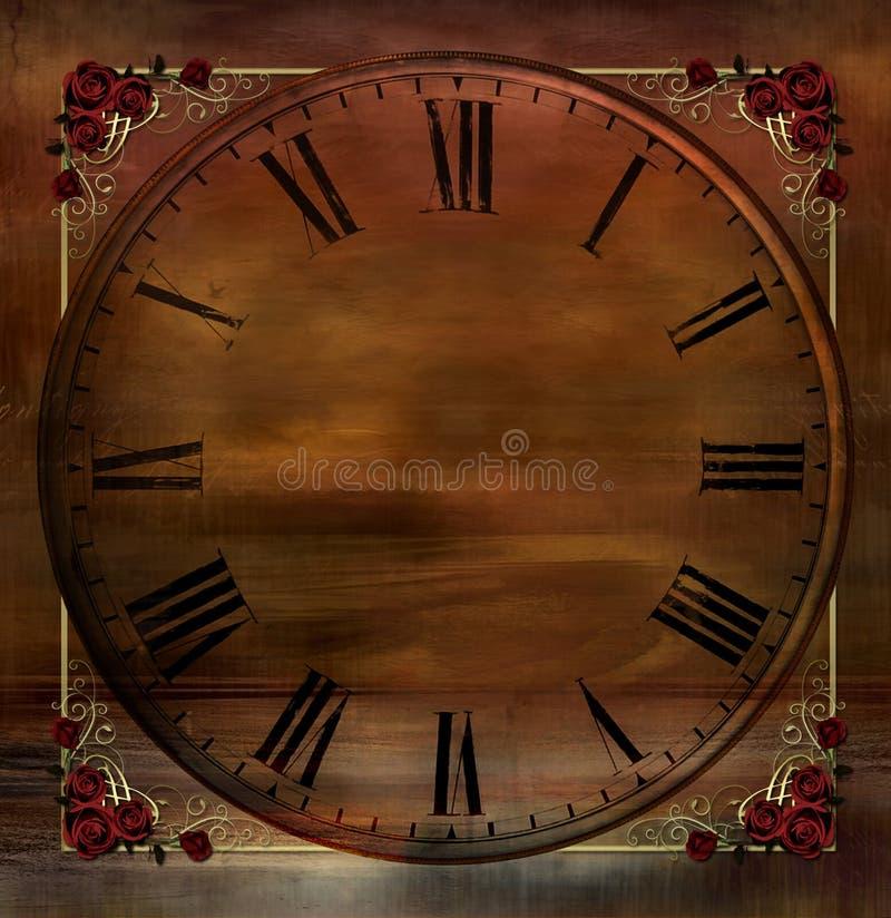 Weinlese-Hintergrund mit Borduhr-und Rosen-Ecken stockfotos