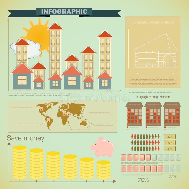 Weinlese infographics eingestellt - Hausaufbau stock abbildung