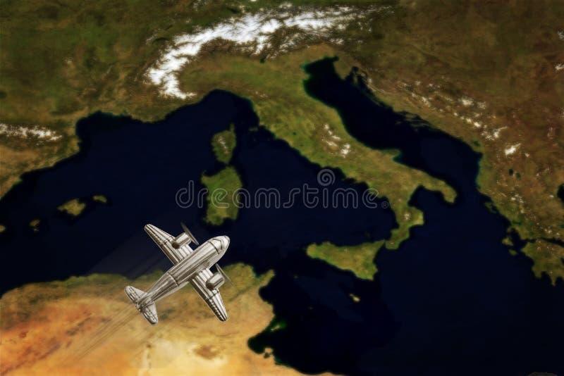 Weinlese-Italien-Karte mit Flugzeug stockbild