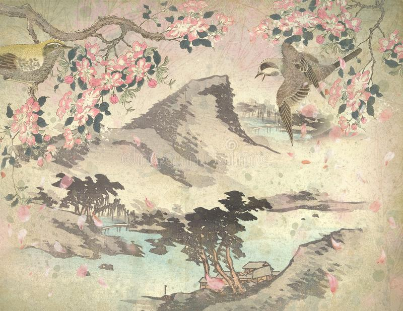Weinlese-Japan-18. Jahrhundert - japanischer Bergabhang - Frühling - Cherry Blossoms Background Paper - japanische Vögel vektor abbildung