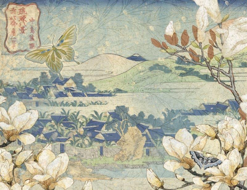 Weinlese-Japan-18. Jahrhundert - japanischer Bergabhang - Frühling - Magnolie blüht Hintergrund-Papier - japanische Vögel lizenzfreie abbildung