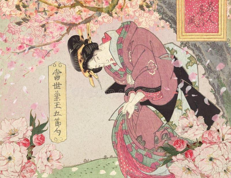 Weinlese-Japan-18. Jahrhundert - Kurtisane mit Cherry Blossoms Background lizenzfreie abbildung