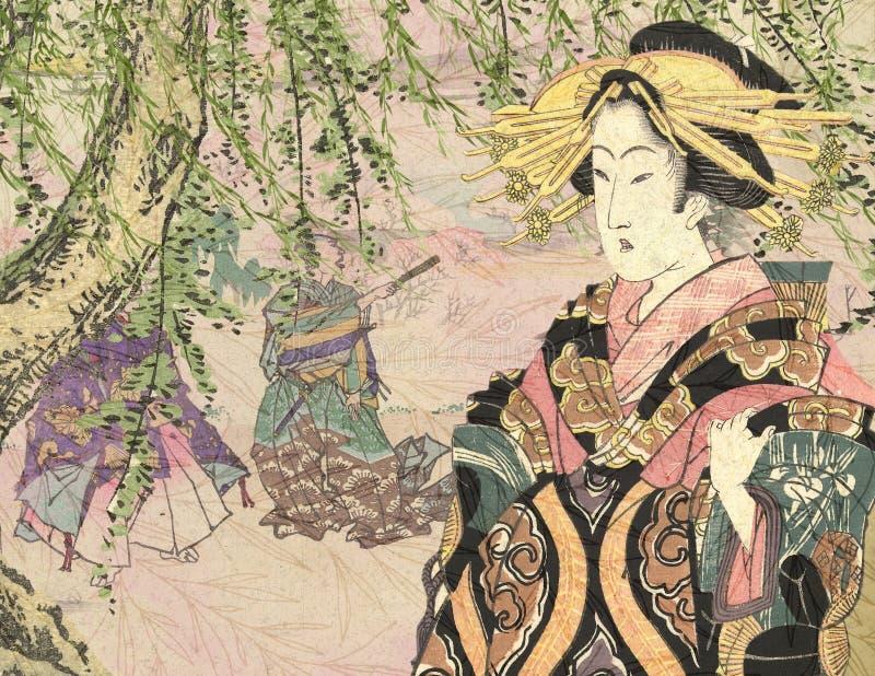 Weinlese-Japan-18. Jahrhundert - Kurtisane mit Trauerweide-Hintergrund lizenzfreie abbildung