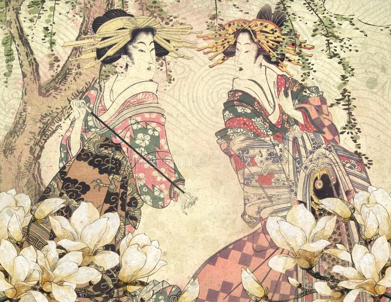 Weinlese-japanische Kurtisane - japanischer Garten - Cherry Blossoms - Pfingstrosen-Hintergrund-Papier stock abbildung