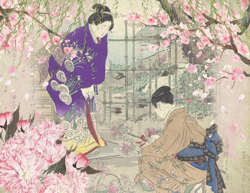 Weinlese-japanische Kurtisanen - japanischer Garten - Cherry Blossoms - Pfingstrosen-Hintergrund-Papier stock abbildung
