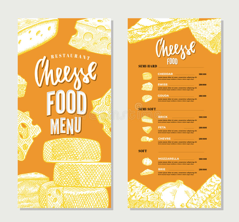 Weinlese-Käse-Restaurant-Menü-Schablone Vektor Abbildung ...