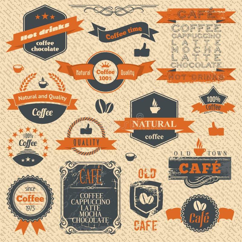 Weinlese-Kaffee-Stempel und Aufkleber-Entwurfs-Hintergründe stock abbildung