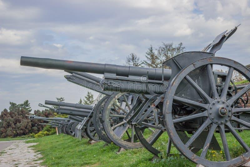 Weinlese-Kanonen in Folge stockbilder