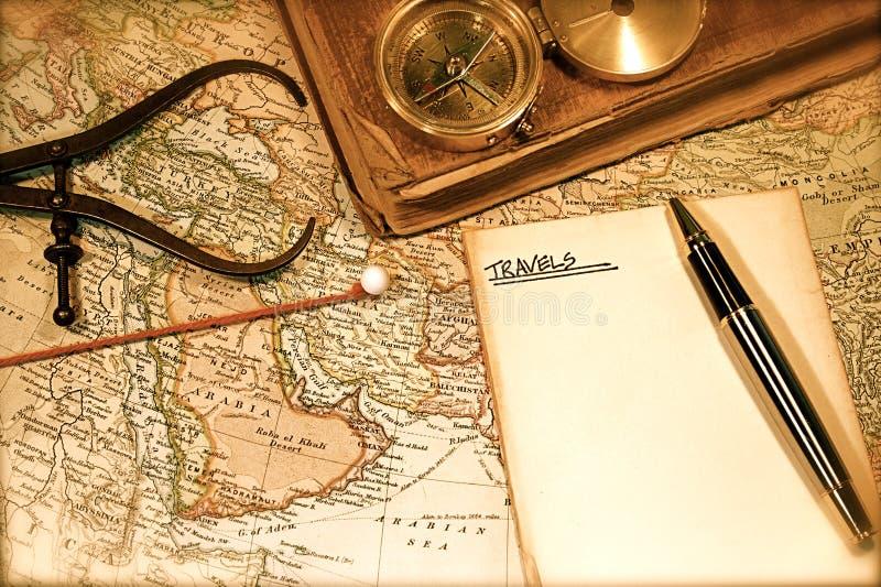 Weinlese-Karte und Diagramm stockfotos
