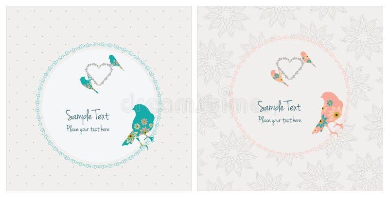 Weinlese-Karten mit Vögeln lizenzfreie abbildung