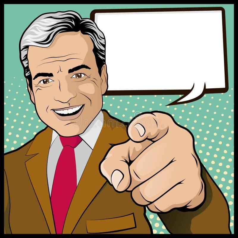 Weinlese-Knall Art Man mit dem Zeigen der Hand lizenzfreie abbildung