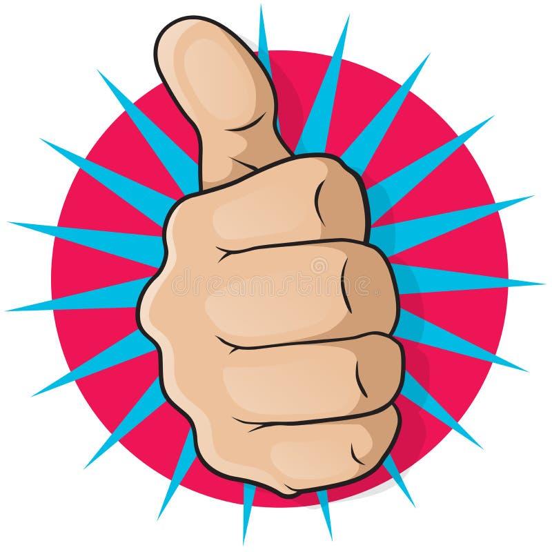 Weinlese-Knall Art Thumbs Up. lizenzfreie abbildung