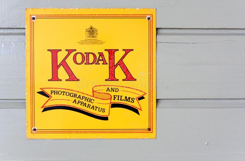Weinlese Kodak, das Zeichen bekanntmacht stockbild