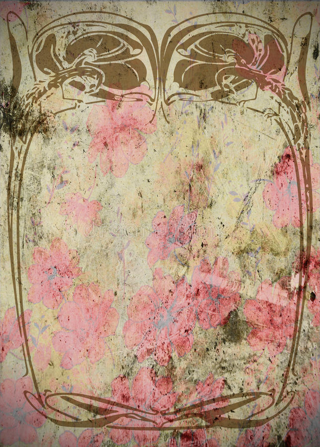 Weinlese - Kunst Nouveau Grungy Einklebebuch-Feld   vektor abbildung