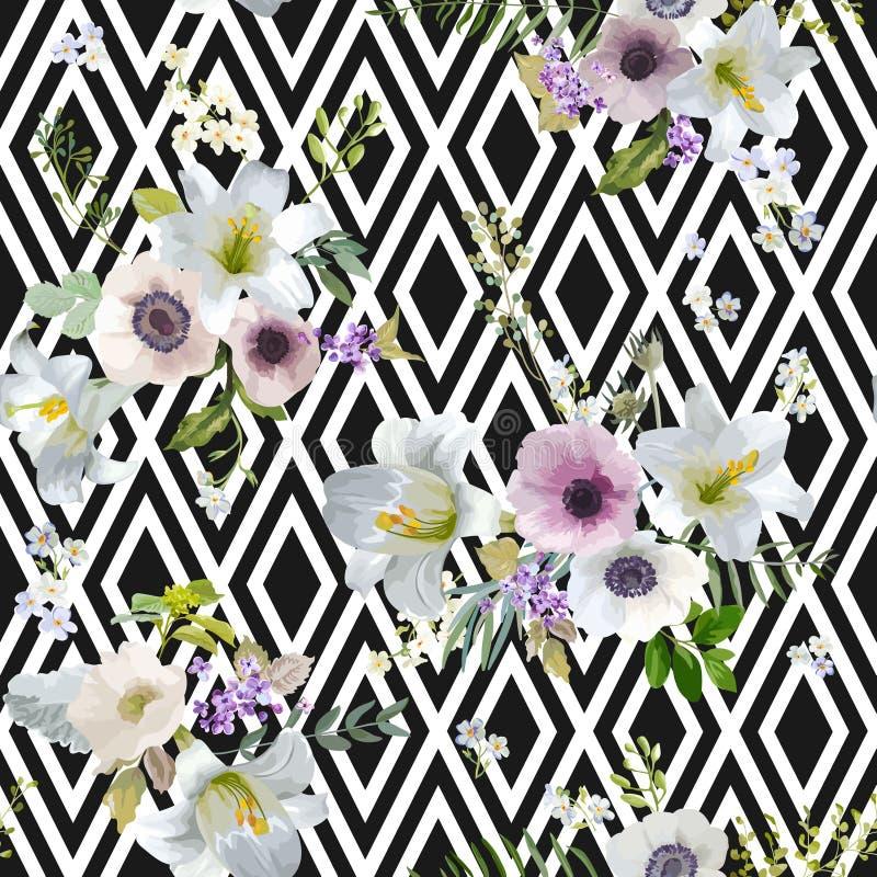 Weinlese-Lilie und Anemone Flowers Geometric Background vektor abbildung