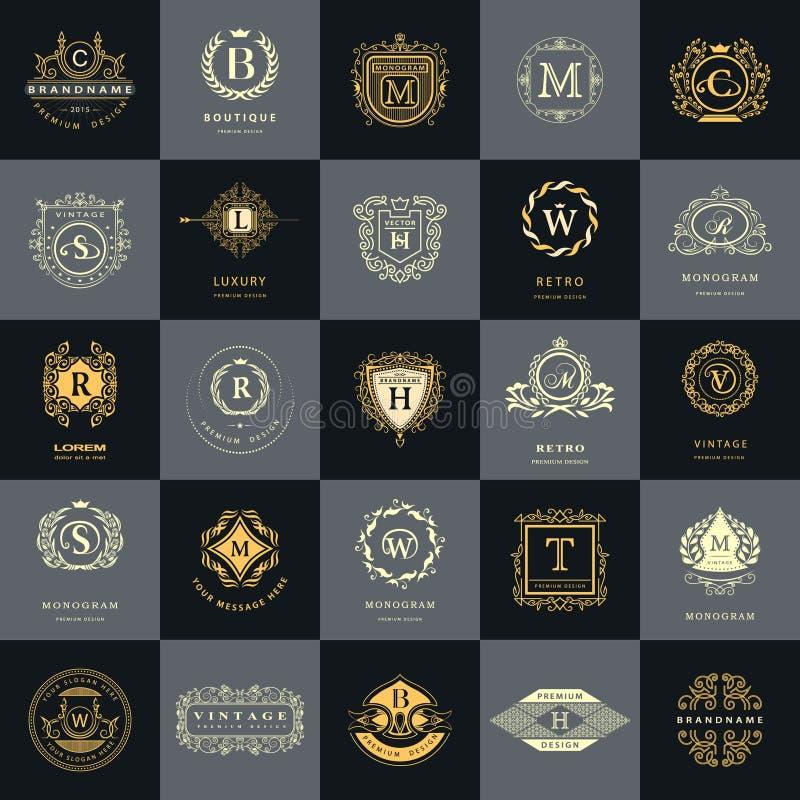 Weinlese-Logo-Design-Schablonen eingestellt Firmenzeichenelemente Sammlung, Ikonen-Symbole, Retro- Aufkleber, Ausweise, Schattenb stock abbildung