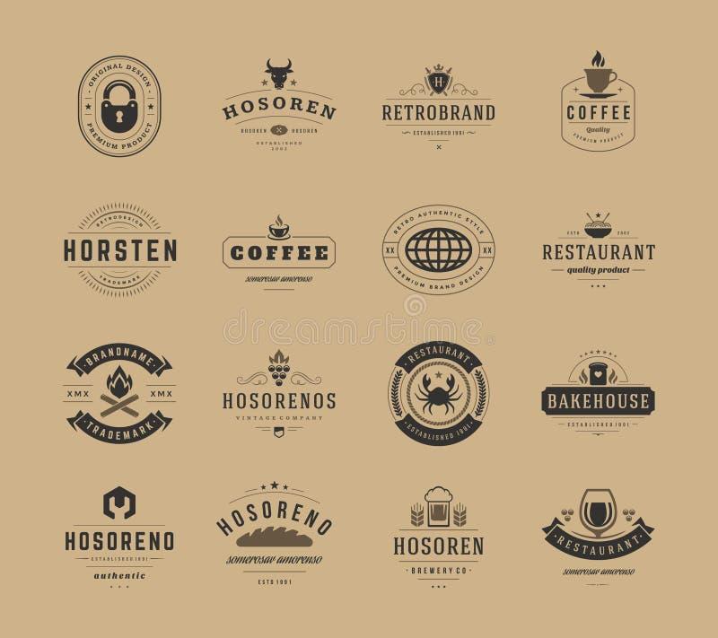Weinlese-Logo-Design-Schablonen eingestellt, Vektor-Gestaltungselemente vektor abbildung