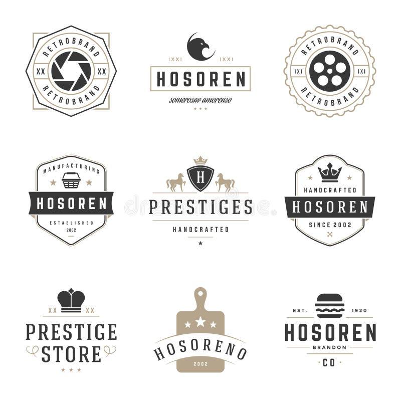 Weinlese-Logo-Design-Schablonen eingestellt Vektorfirmenzeichen-Elementsammlung stock abbildung