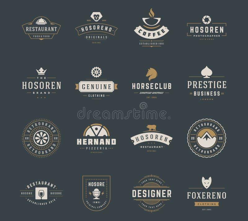 Weinlese-Logo-Design-Schablonen eingestellt Vektorgestaltungselemente, Logo Elements vektor abbildung