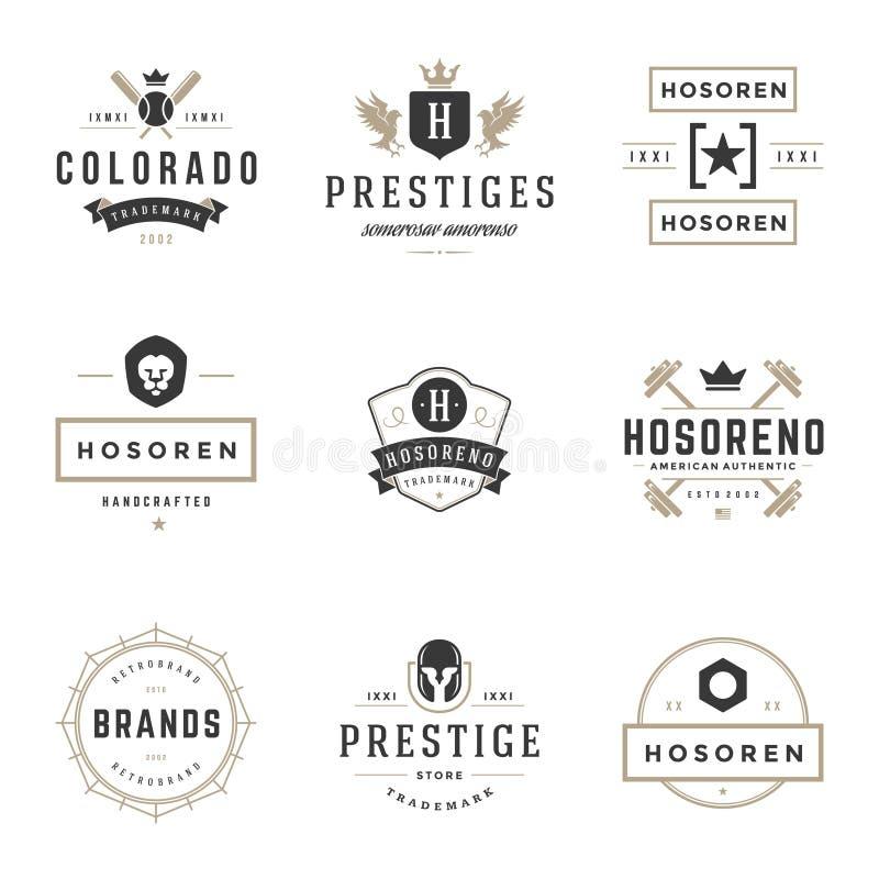 Weinlese-Logo-Design-Schablonen eingestellt Vektorgestaltungselemente, Logo Elements lizenzfreie abbildung