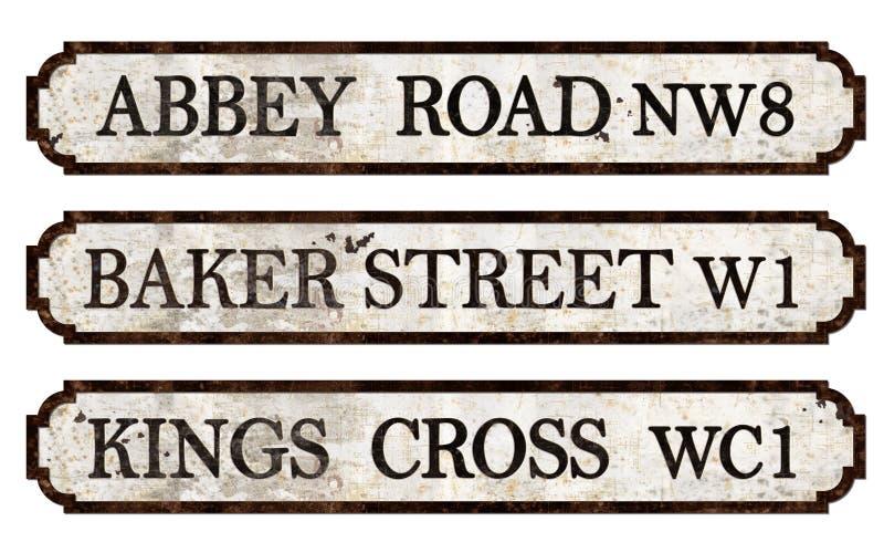 Weinlese-London-Straßenschilder stockfotos