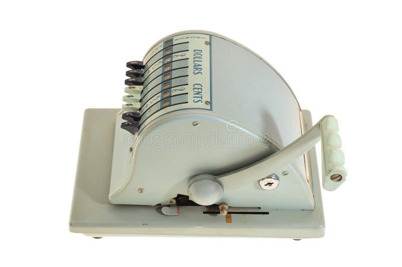 Weinlese-Maschine zum Ausfüllen von Schecks lizenzfreies stockfoto