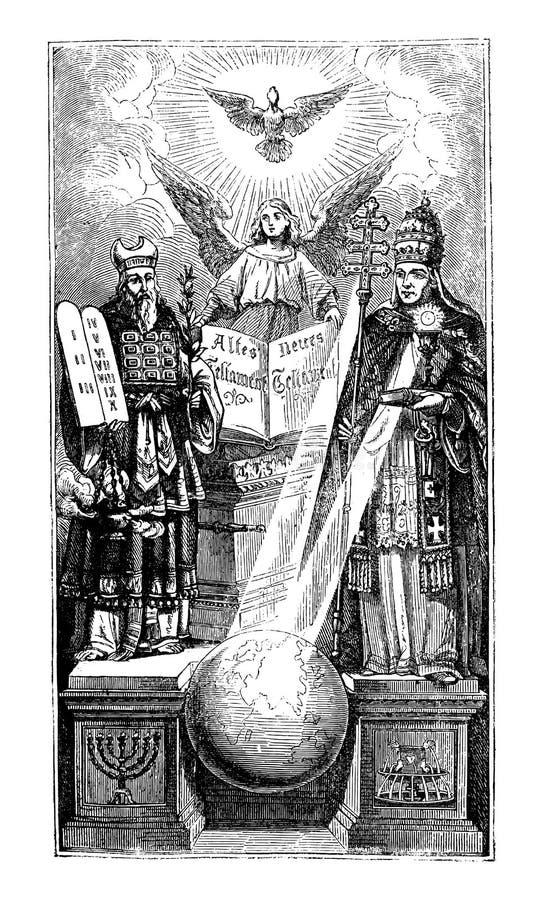 Weinlese-metaphorische Zeichnung von biblischem Mosese, von Engel und von Papst Around World Globe vektor abbildung