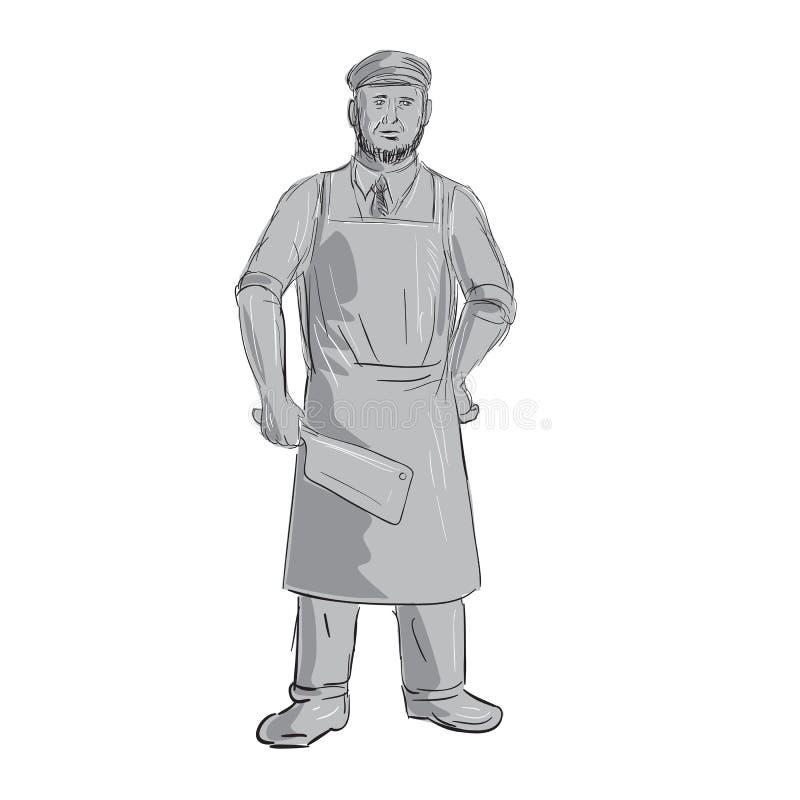 Weinlese-Metzger-Meat Cleaver Standing-Zeichnung lizenzfreie abbildung
