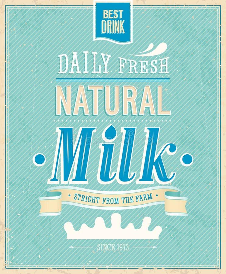 Weinlese-Milchkarte. stock abbildung