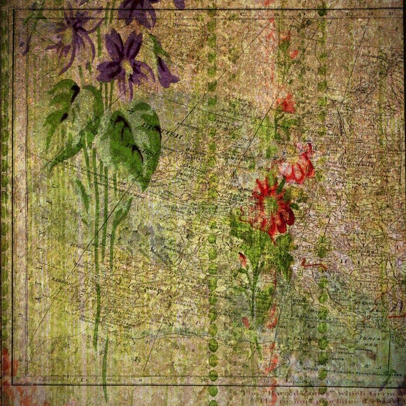 Weinlese - mit Blumen und Atlas-Druck-Hintergrund stock abbildung