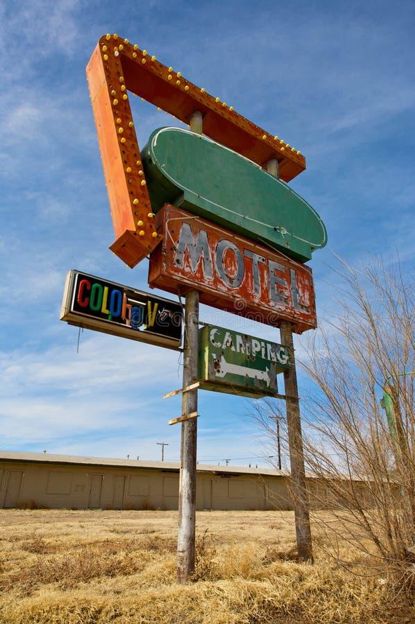 Weinlese-Motel-Zeichen stockbild