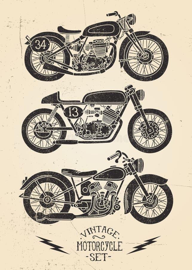 Weinlese-Motorrad-Satz stock abbildung