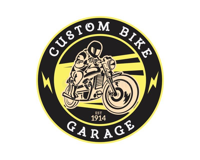 Weinlese-Motorrad Speedshop Logo Badge Illustration vektor abbildung