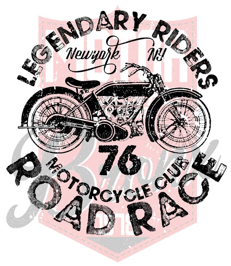 Weinlese-Motorrad-T-Shirt Grafik lizenzfreie abbildung